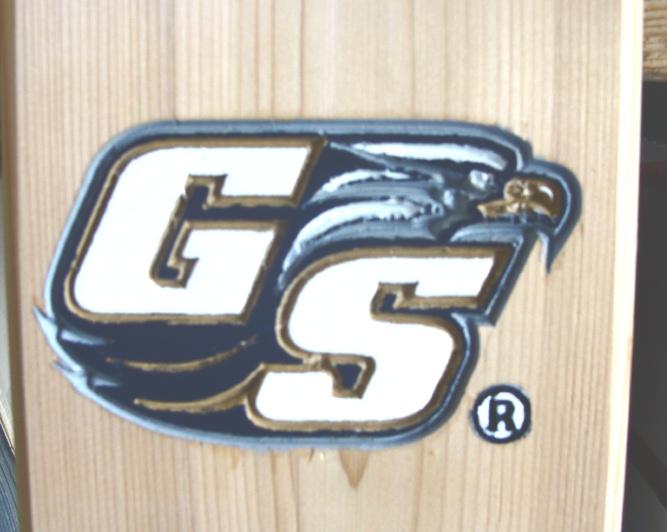 SA28606 - Painted Carved 3-D Logo on Cedar