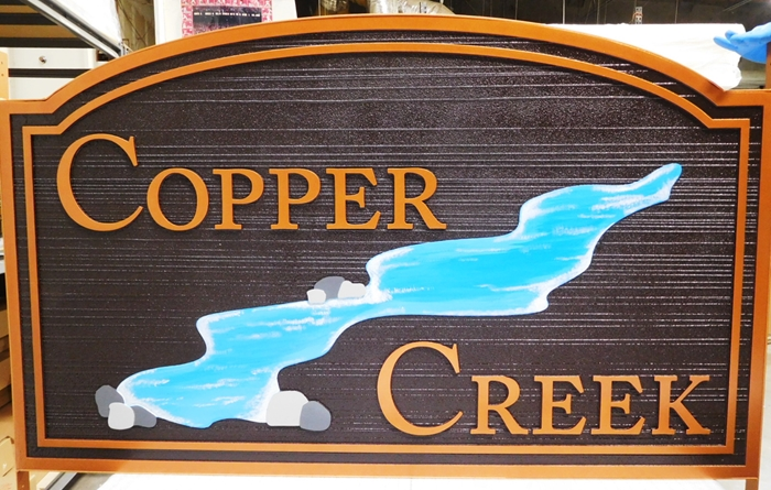 "M22417- Carved and Sandblasted Cabin Name ""Copper Creek"" Sign with a Creek as Artwork"