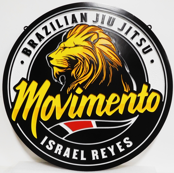 S28044 - Carved HDU Sign for  Movimento  Brazilian Jiu Jitsu ,  2.5-D Multi-level , Artist-painted with Lion's Head as  Artwork