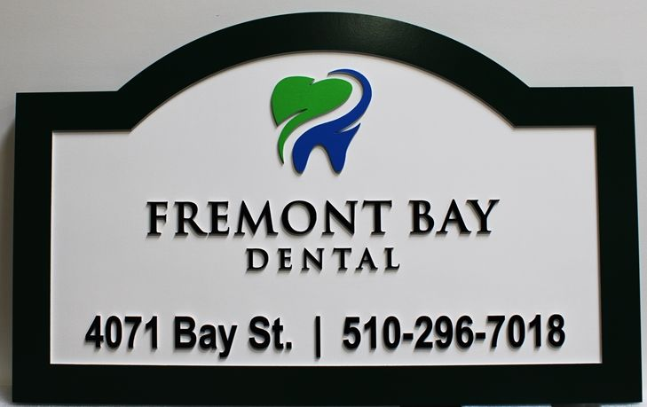 "BA11611 - Carved HDU  Sign for the Office of ""Fremont Bay Dental"""