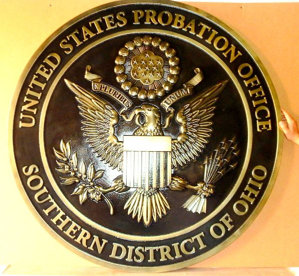 A10835 - Carved 3-D Brass Bas-relief Wall Plaque for the US District Court, Southern Ohio