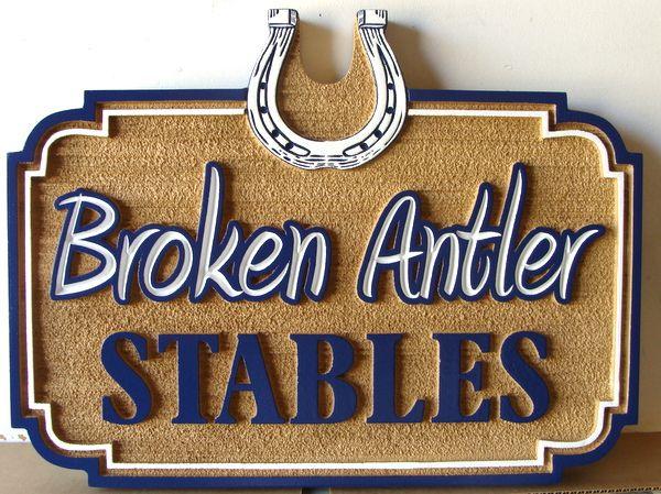 "P25052 - Carved and Sandblasted HDU Entrance Sign for ""Broken Antler Stables"" with Horseshoe"