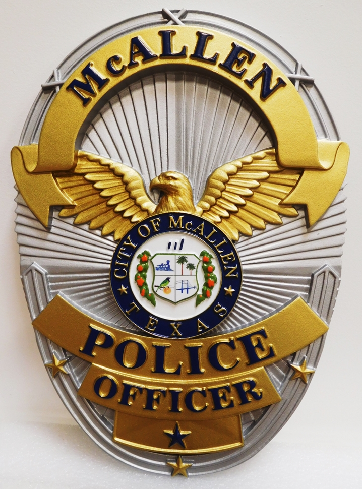 PP-1478 - Carved Plaque of a  Badge of a Police Officer  of City of McAllen, Texas, 3-D Artist-Painted