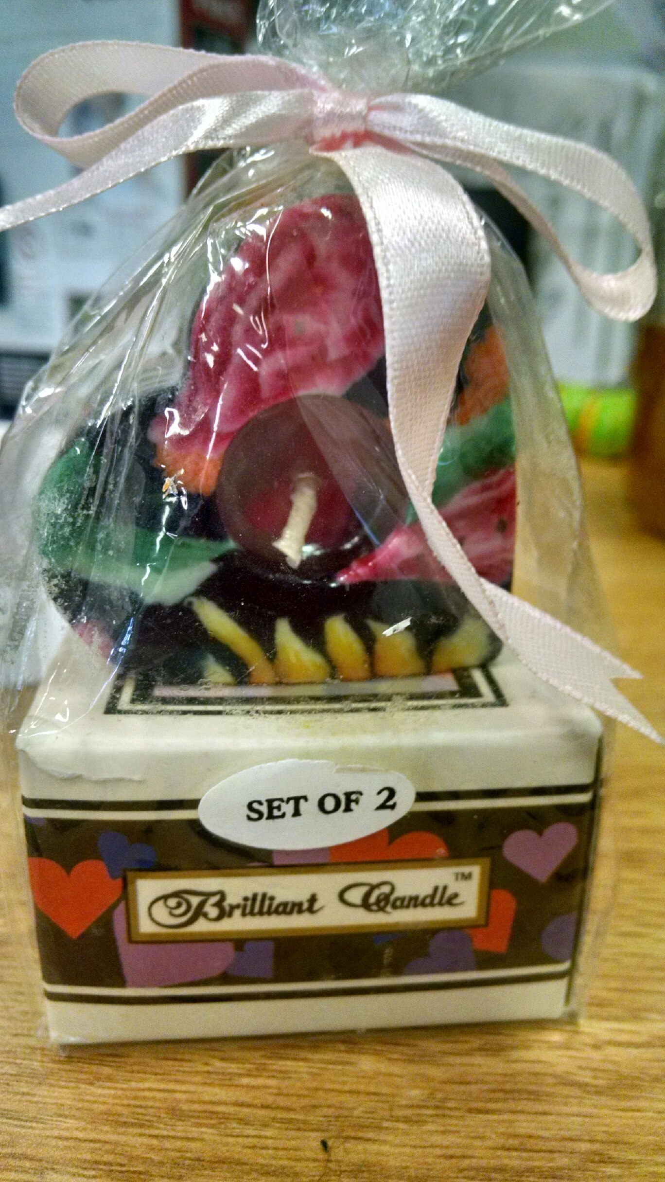 Brilliant Candle - 2 pk. set - veneer heart-shaped