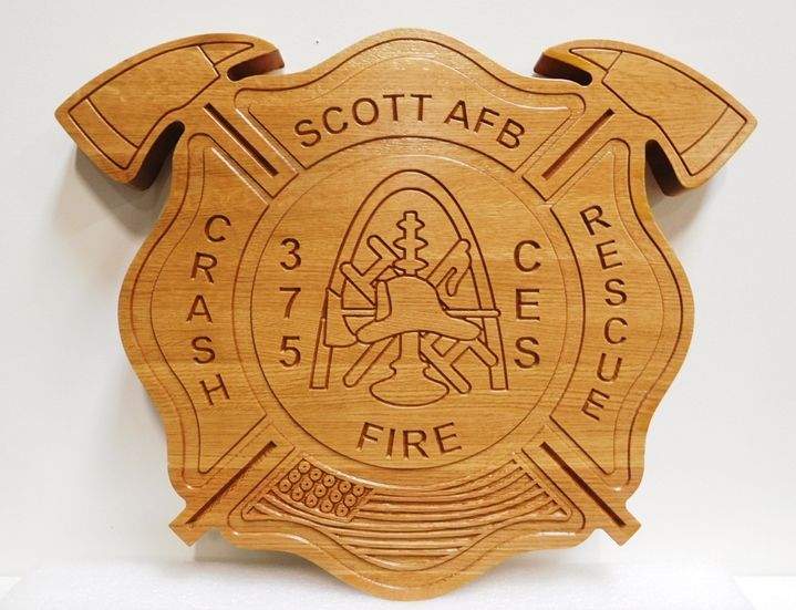 QP-1175 - Carved Plaque of the Badge of the Scott Air Force Base Fire, Crash & Rescue Department, 2.5-D Engraved Mahogany