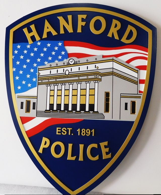 PP-2025 - Carved Plaque of the Shoulder Patch of the Hanford , California Police Department, 2.5D Multi-color Artist Painted