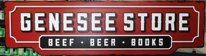 "Q25742 - Large Carved HDU Sign for the ""Genesee Store -Beef, Beer and Books"",   with  2.5-D  Raised Stylized Text"