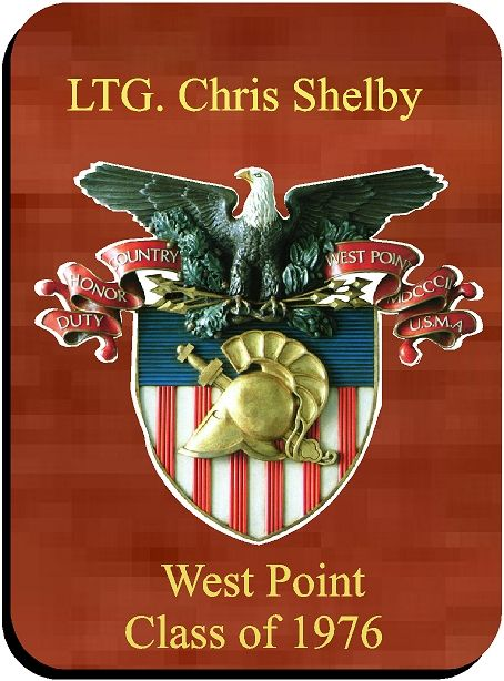 Y34354 -  3-D Carved Crest on Mahogany Personalized Plaque, for West Point Graduate