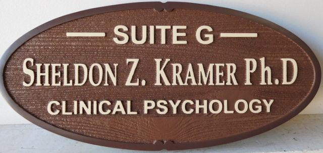 B11245 - Carved and Sandblasted Cedar Wood Sign for a Clinical Psychologist
