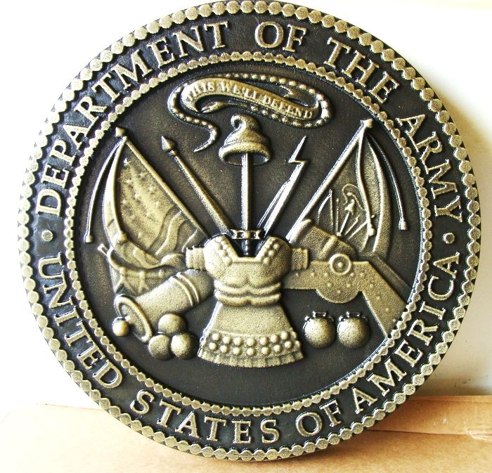 MP-1045 - Carved Plaque of the Great Seal of the US Army., Brass-Plated