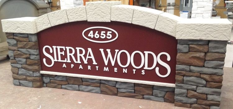 K20007 -  - EPS Monument Sign for Sierra Woods Community m, with Stone Pillars and Limestone Arch