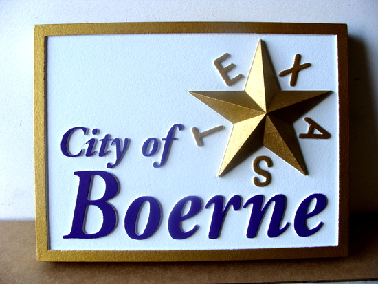 X33029 - Carved 3-D Wall Plaque of the Logo of the City of Boerne, Texas