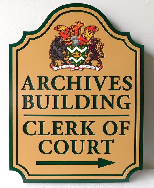 F15462 - Engraved Sign for Archives Building,  Kings and Queens County