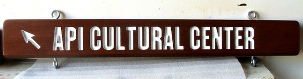 F15933- Carved, Engraved Mahogany Directional  Sign for Agricultural Center