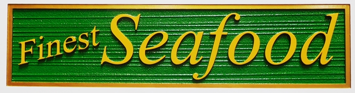 Q25175 - Carved and Sandblasted Wood Grain Sign  for a Seafood Restaurant