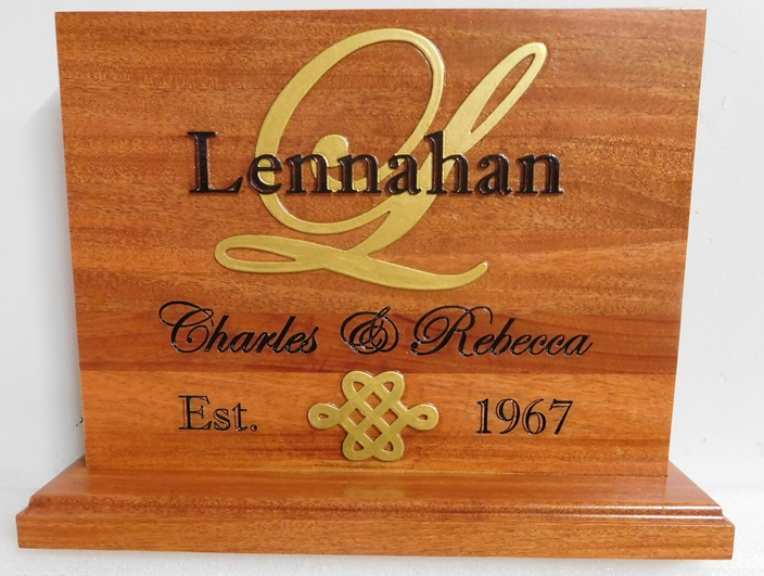 M3053 - Carved 2.5-D Cedar Anniversary Standing Plaque, with 24K Gold-Leaf Artwork (Gallery 22)