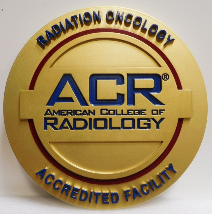 RP-1545 - Carved Plaque of the Seal of the American College of Radiology.3-D Artist-Painted