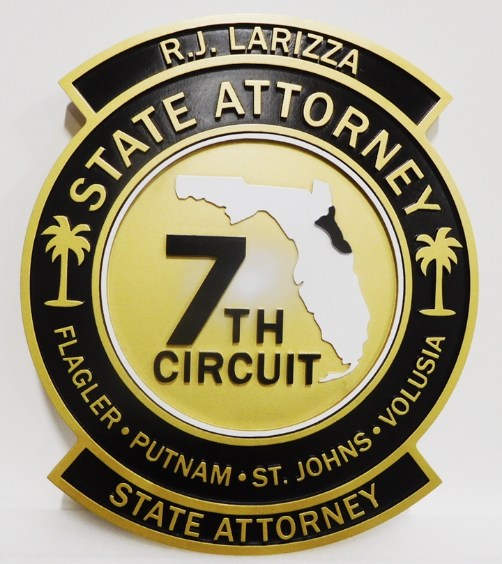 BP-1175 - Carved Plaque of the Seal of the 7th Circuit Court State Attorney  of Florida (2.5-D Artist Painted)