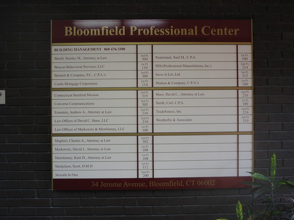 Interior Lobby Wall Directory,  Individual Inter-Changeable Colored Tenant Panels