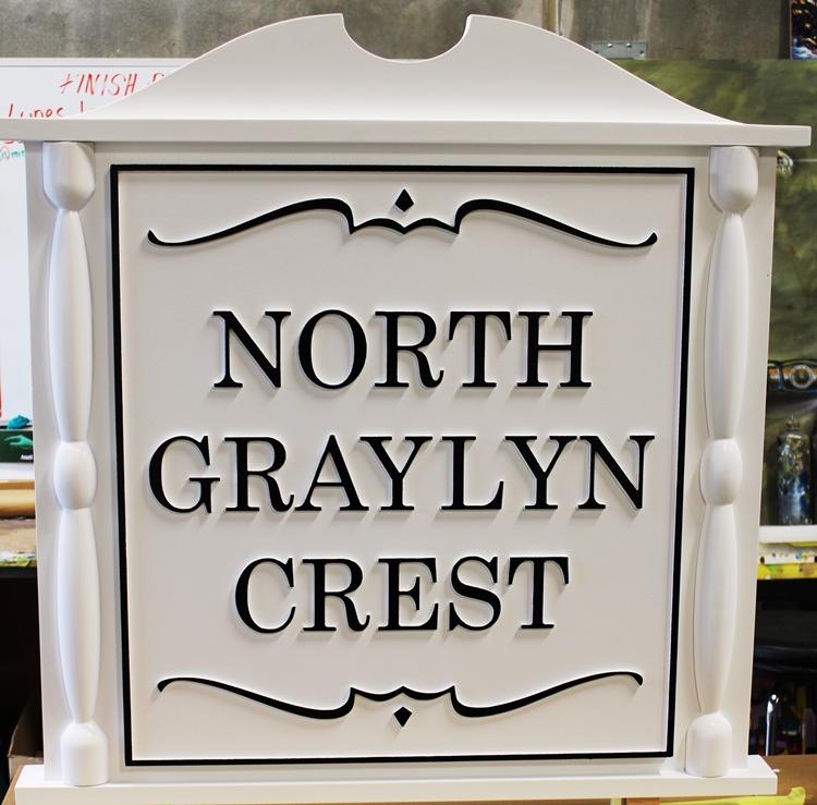 "K20075 - Carved Classical Carved High-Density-Urethane (HDU) Entrance Sign for ""North Graylyn Crest"" Community"