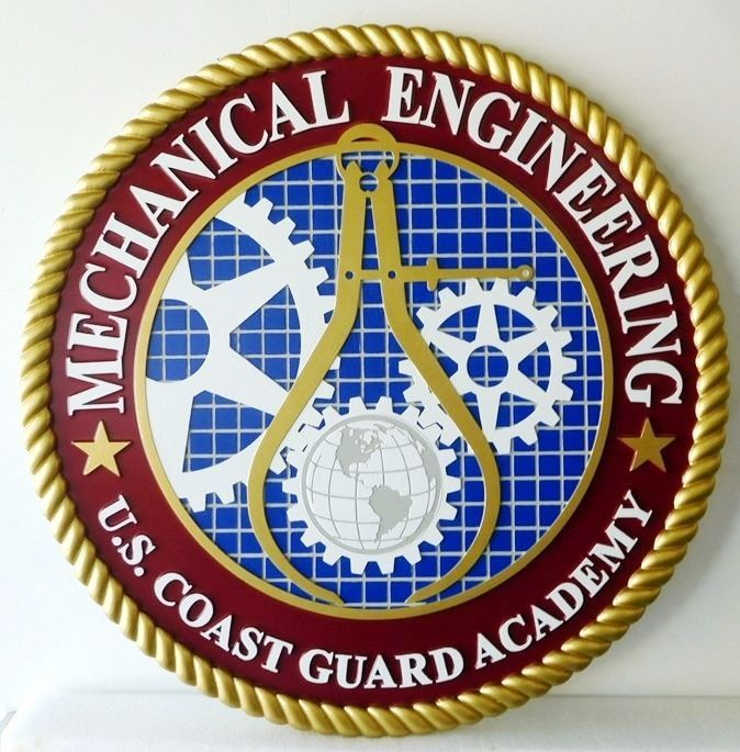 RP-1882 - Carved Wall Plaque of  the Seal of Mechanical Engineering,  Coast Guard Academy, Artist Painted
