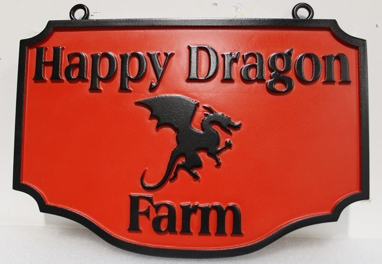 O24556 - Carved HDU Entrance Sign for the Happy Dragon Farm