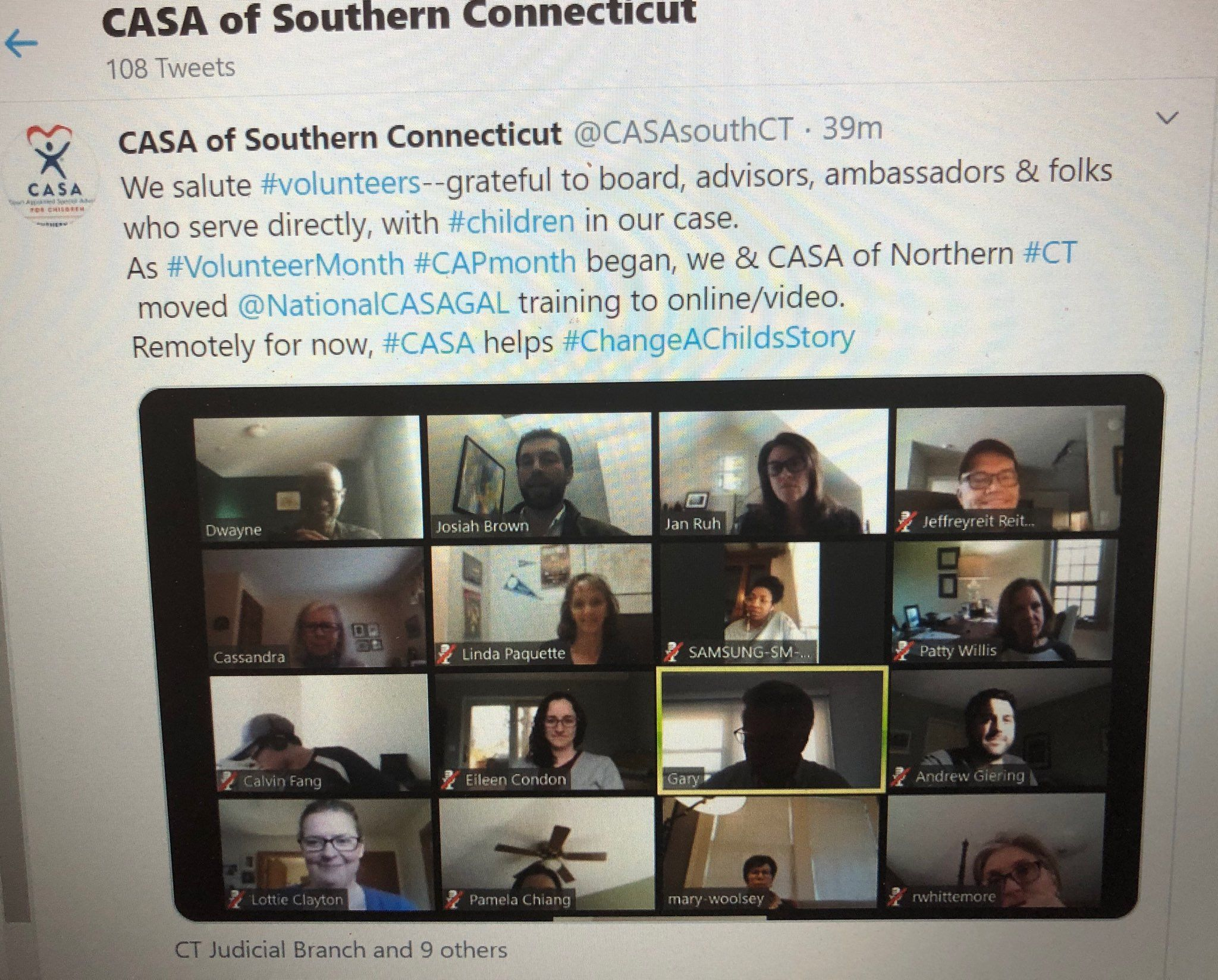 CASA of Southern Connecticut (and of Northern Connecticut) moving training online