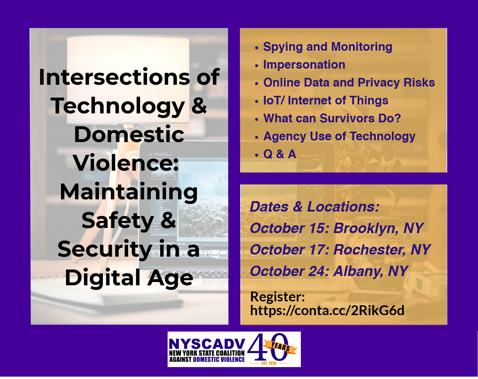 Intersections of Technology & Domestic Violence:  Maintaining Safety & Security in a Digital Age