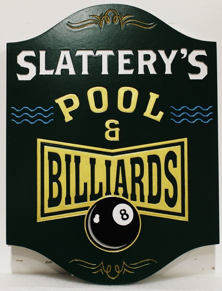 """SA28828 - Carved and Engraved 2.5-D HDU Sign for """"Slattery's Pool & Billiards"""""""