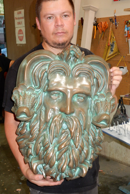 GA16708 - Head of Neptune Pool Decor - Bronze Plated HDU Sculpture with Patina (Please See GA16693A.)
