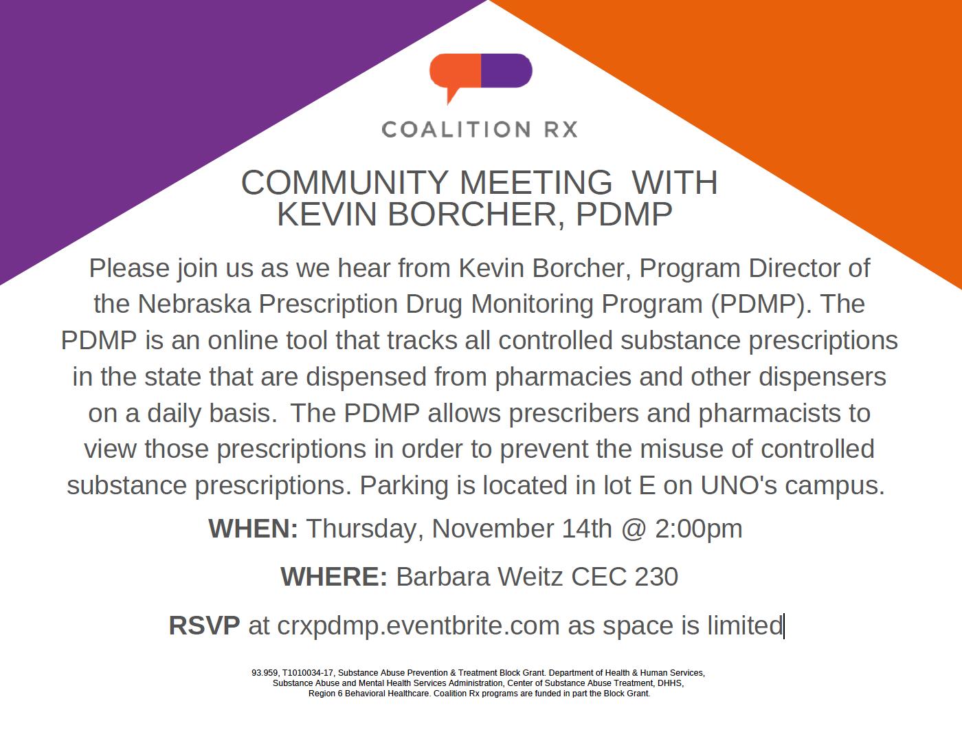 Community Meeting about the Prescription Drug Monitoring Program