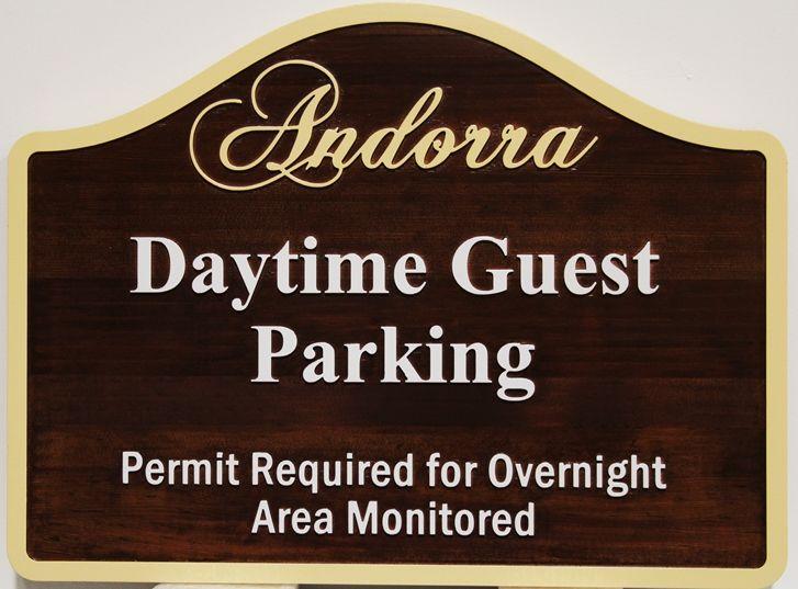 """KA20703 - Carved Cedar Wood """"Daytime Parking"""" Sign for Andorra"""