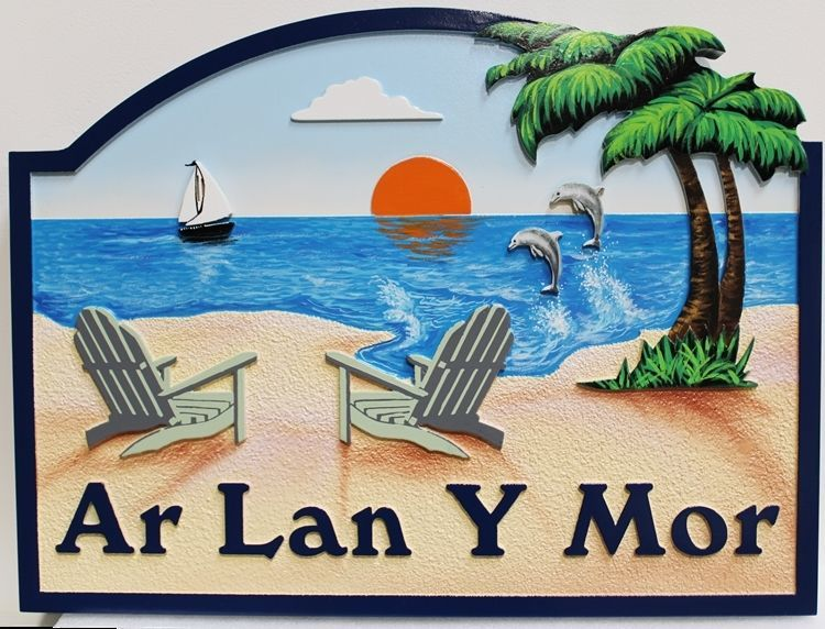 "L21007 -  Carved and Sandblasted 2.5-D Multi-level  HDU Beach House Name Sign ""Ar Lan Y Mor "", with Tep Chairs, Sailboat, Leaping Dolphin and Setting Sun"