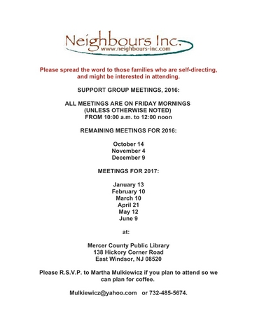 Neighbours Inc., Parent Support Group (East Windsor)