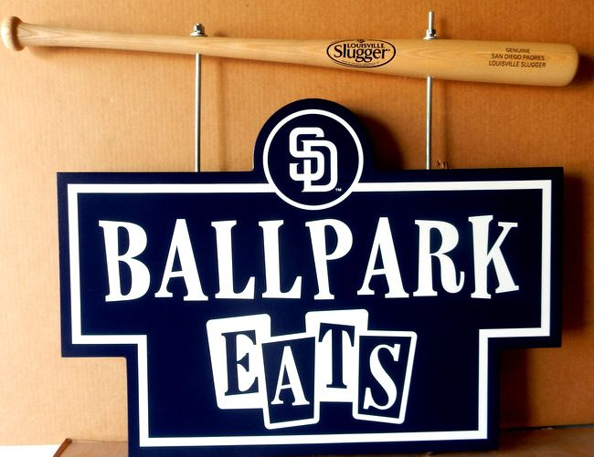 GA16569 - Baseball Bat Sign Hanger with Carved HDU Sign for Baseball Eats