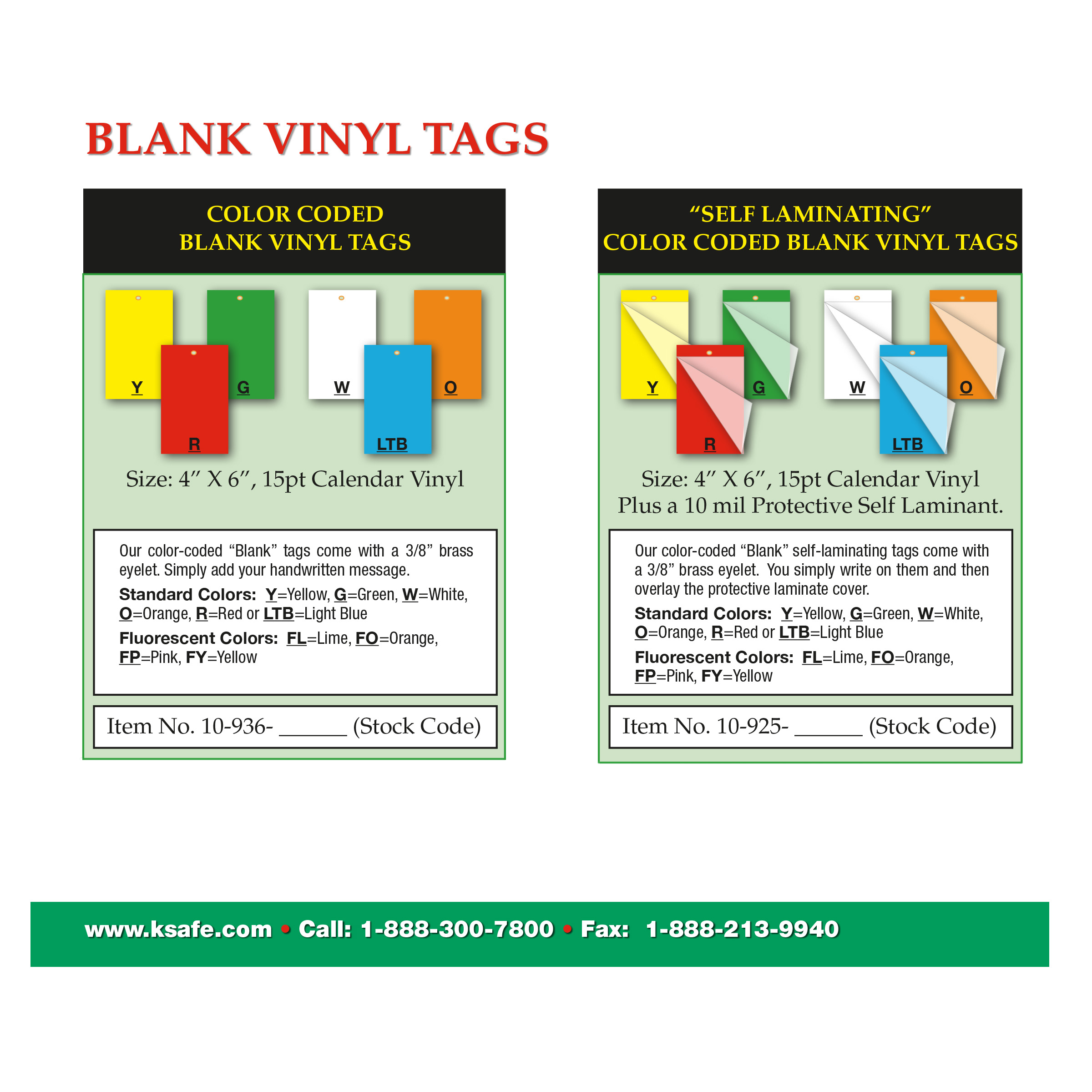 """Self Laminating"" Color Coded Blank Vinyl Tag"