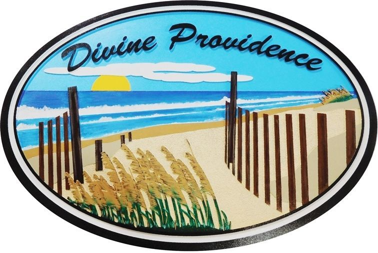 "L21044 - Carved ""Divine Providence""  Beach-House Sign, with Artwork of a  Scenic View of Plants, Sand, Sea and Sunset"