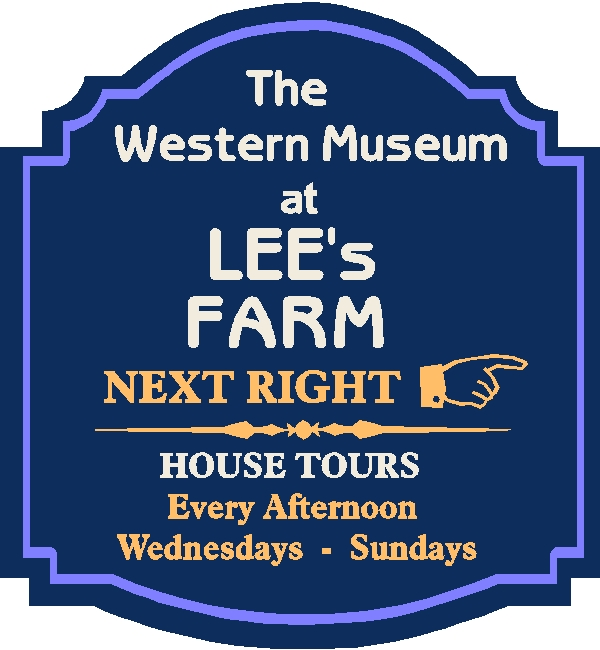 F15310 - Design of an HDU or Wooden Directional Sign for a Museum with Hours of Farmhouse Tour