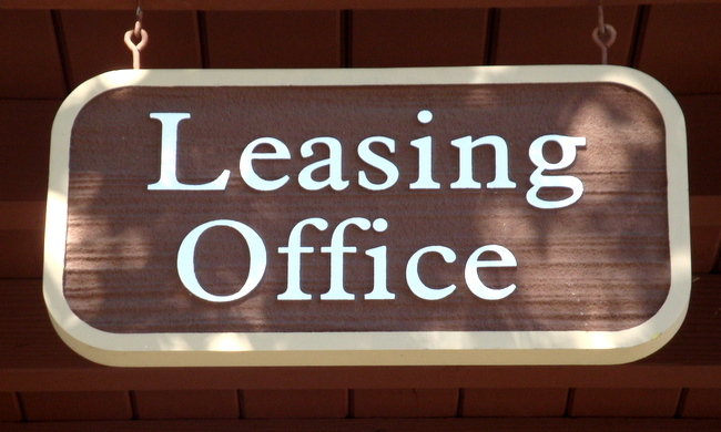 KA20540 -Carved Wood Grain HDU Hanging Sign for Leasing Office