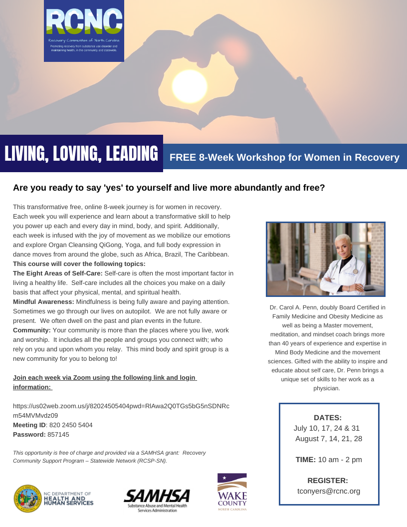 Living, Loving, Leading: A Free, Online 8-Week Workshop for Women in Recovery