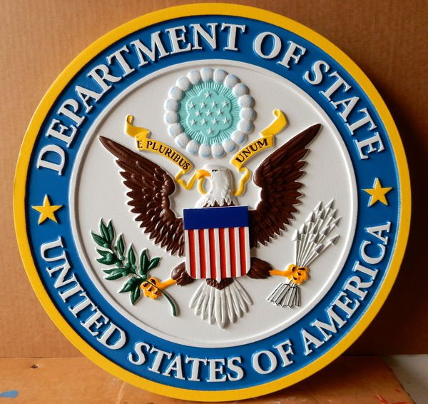 U30174A  - Carved 3-D Hand-painted Wall Plaque of Great Seal of the US State Department