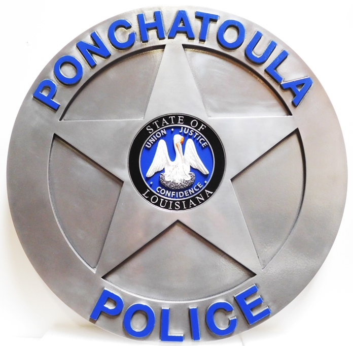 PP-1812- Carved Plaque Badge of the Police  Department of Ponchatoula County, Louisiana, Aluminum Plated