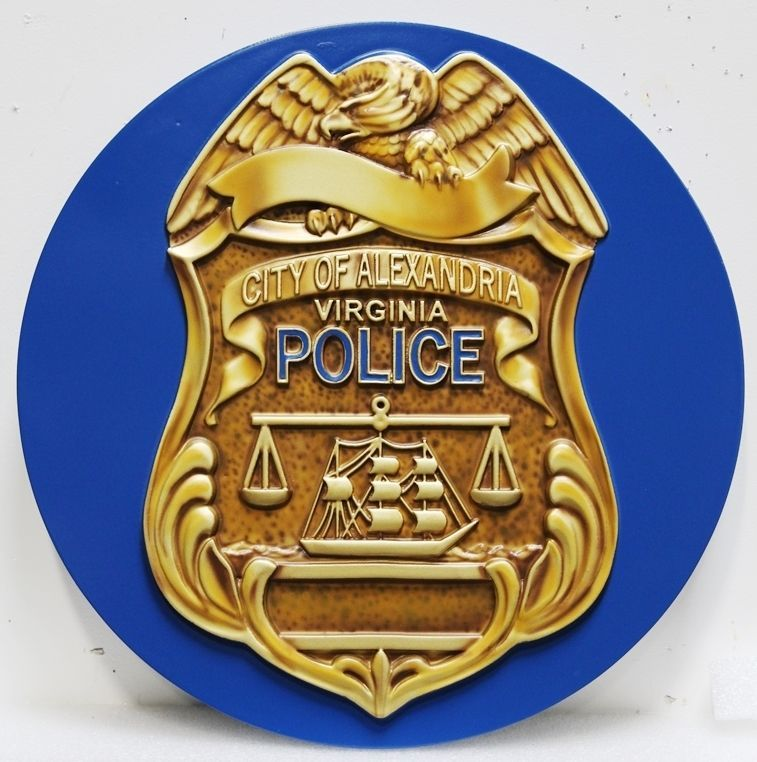 PP-1528 - Carved 3-D HDU Plaque of the Badge of a Police Officer of the City of Alexandria, Virginia