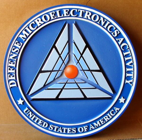 V31176 – Carved 3D Wall Plaque of the Emblem of the Defense Microelectronics Activity
