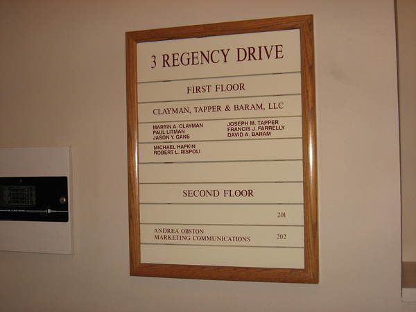 Interior Wall Mounted Lobby Directory, Inter-Changeable, Colored Panels with Oak Wood Frameing