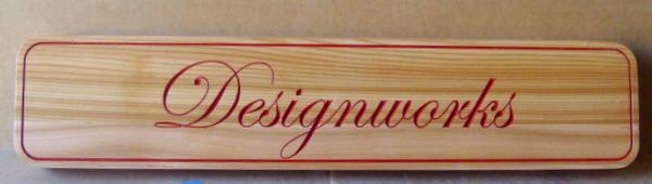 """SA28798 - Engraved Cedar Wood Sign for """"Designworks"""" Design Studio"""