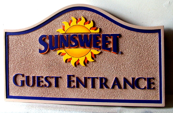 "T29051 - Carved  and Sandblasted  Sign for the ""Sunsweet""  Inn,. featuring a  Bright and Happy Sun"