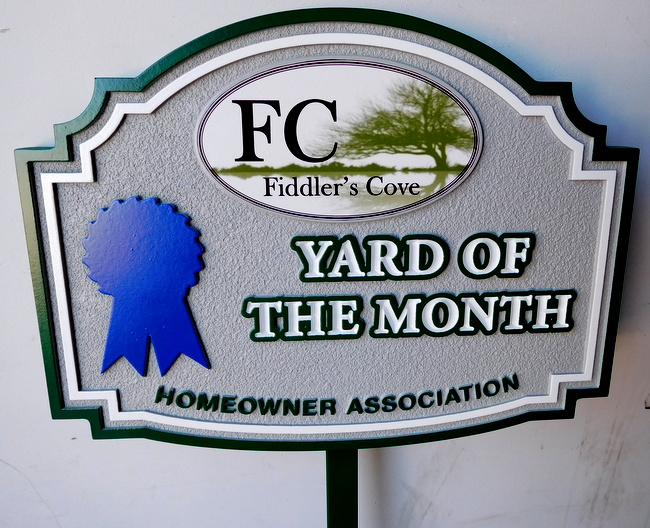 "KA20934 - ""Fiddler's Cove"" HOA Yard-of-the-Month Sign, featuring a Blue Ribbon and Giclee Print of a the Cove Scene"