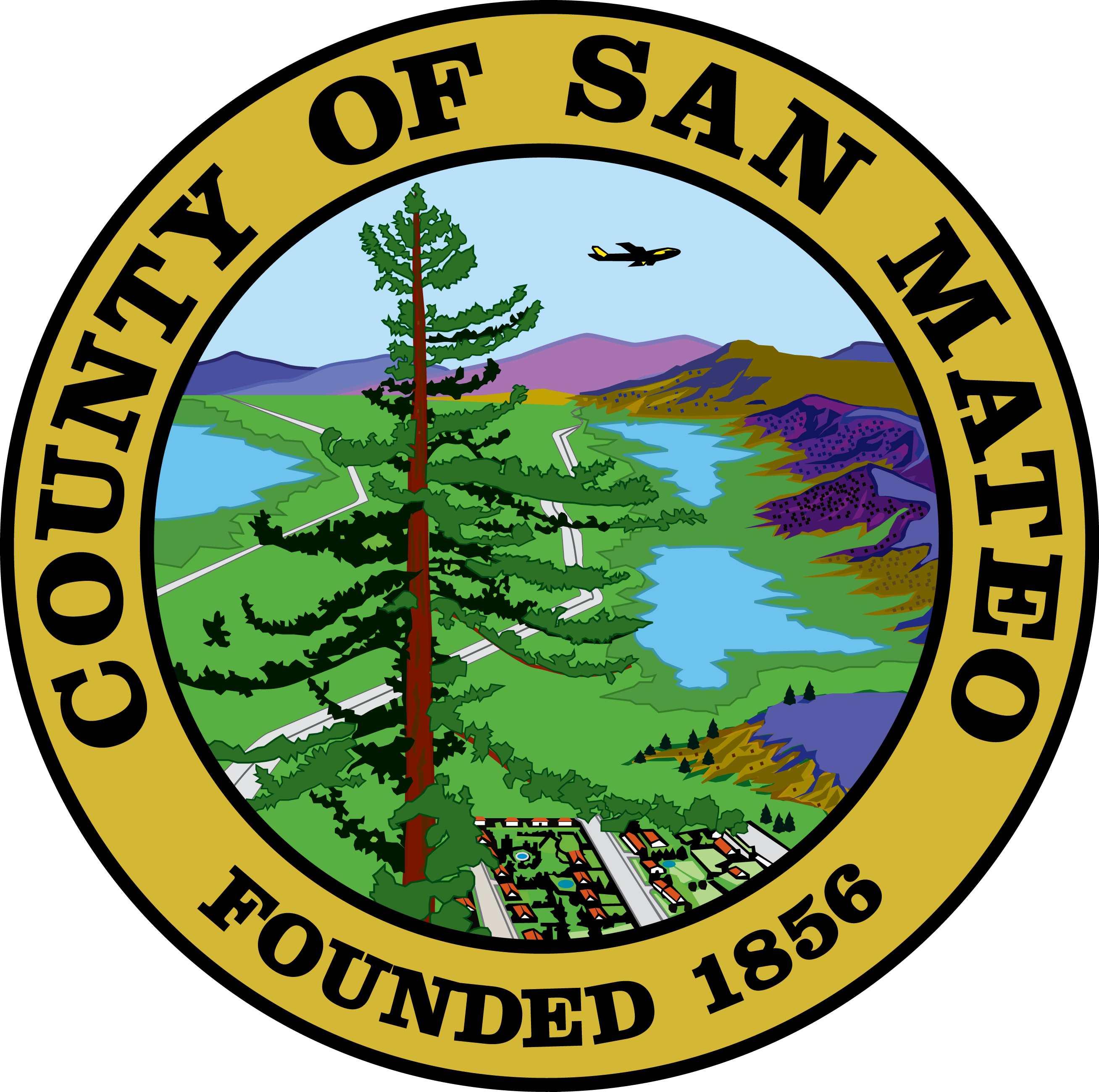 CP-1600 - Carved Plaque of the Seal of San Mateo County, California, Artist Painted