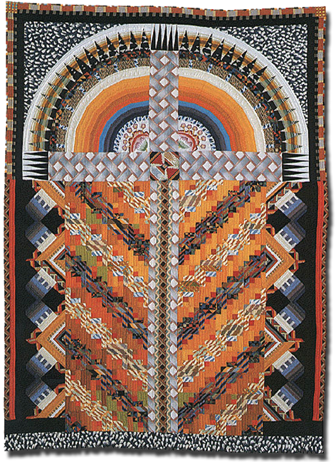 'Lady of Guadalupe,' made by Nancy Crow, dated 1985, 81.5 x 59 in